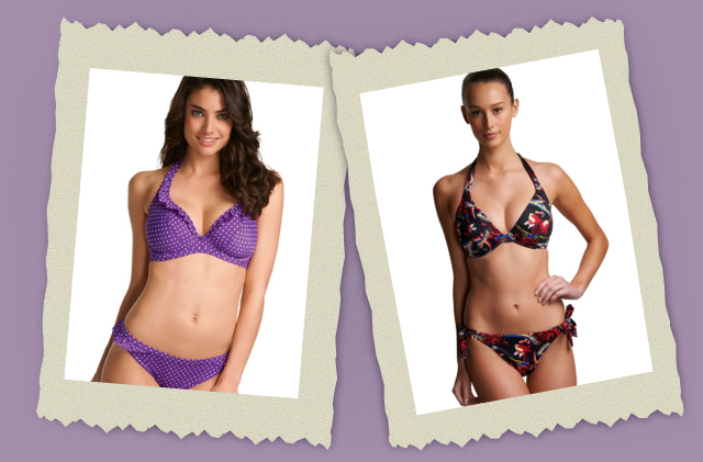 purple and flowered swimwear