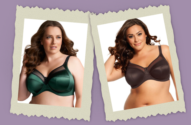 full figured green and black bras